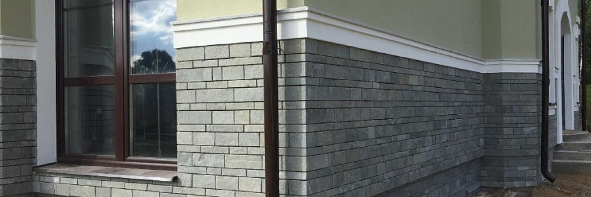 крепление натурального камня на фасад